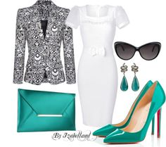 """""""Turquoise, Black and White"""" by izabellaml ❤ liked on Polyvore"""