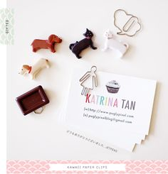 business cards by Pugly Pixel. Cute idea adding the paper clip Business Card Design, Business Cards, Office Candy, Jet Pens, Dog Pin, Calling Cards, Stationery Paper, Chocolate Gifts, Crafty Projects