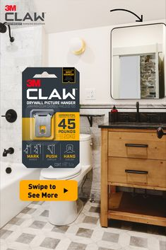 When you need to hang something heavy like a bathroom mirror, get the 3M CLAW™ Drywall Picture Hanger for trusted strength proven to hold up to 15, 25 and 45 pounds. The engineered hardened steel claws lock securely into drywall anywhere. Some packages include a Spot Marker to mark where the mirror or art piece will hang before applying the 3M CLAW™ Drywall Picture Hanger. Home Upgrades, Laundry In Bathroom, Home Repairs, Small House Plans, House Painting, Apartment Living, Home Improvement, Sweet Home, 45 Pounds