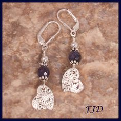 FIne Silver, Sapphire and Sterling Silver Earrings - a sweet summer accessory!