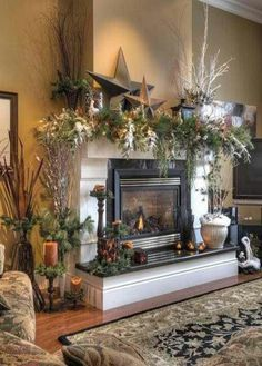 Love this for my Fall mantle decor! Maybe not stars but def. the greenery