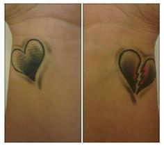 Full heart/ broken heart wrist tattoos