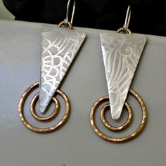 etched sterling silver and 14K gold filled artisan earrings. by Untwistedsister on Etsy