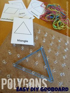 math, geography - Relentlessly Fun, Deceptively Educational: Easy DIY Geoboard (and a Lesson in Polygons) Montessori Education, Montessori Materials, Montessori Activities, Homeschool Math, Homeschooling, Curriculum, Math Classroom, Kindergarten Math, Teaching Math