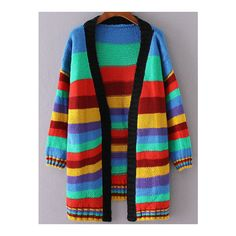 SheIn(sheinside) Multicolor Striped Open Front Loose Cardigan ($30) ❤ liked on Polyvore featuring tops, cardigans, multicolor, long sleeve cardigan, stripe cardigan, red striped top, colorful cardigan and open front cocoon cardigan