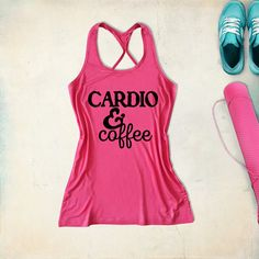 fitness workout gym tank top cardio & coffee /black by TeeforRun