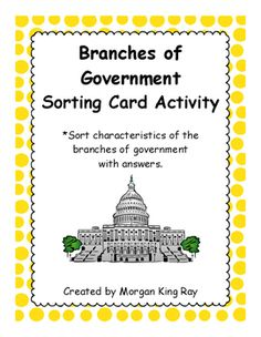 Use these Branches of Government Sorting Cards as whole group, small group, or individual activity to check understanding on the three branches of government. Students will sort 6 characteristic cards under each branch of government. In your lesson, a great suggestion would be to pre-laminate and cut the cards for easy use.