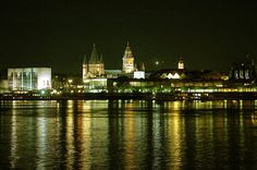 Mainz city silhouette by night. Left Mainz City Hall, at the centre the Cathedral.