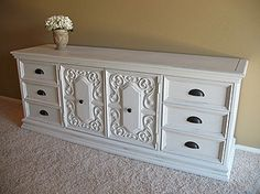 Large Ornate White Dresser upcycle Color for My dresser/entertainment center