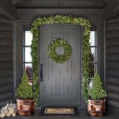 Bay Leaf Wreath and garland, copper planters and logs