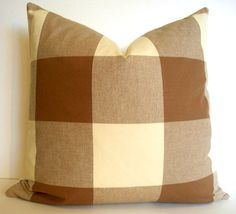 oversized brown check pillow cover brown buffalo check brown gingham check decorative pillow cover - Large Decorative Pillows