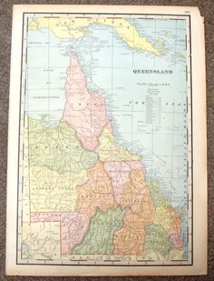 """Antique Map - """"MAP OF QUEENSLAND (AUSTRALIA)"""" by Unknown - Chromolithograph - c1895"""