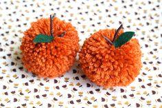 one sheepish girl: Happy October! - Make Pom Pom Pumpkins (twig crafts pom poms) Autumn Crafts, Fall Crafts For Kids, Holiday Crafts, Crafts To Make, Twig Crafts, Pom Pom Crafts, Yarn Crafts, Holidays Halloween, Halloween Crafts