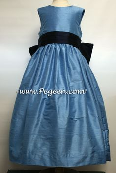 MEDIUM BLUE AND NAVY FLOWER GIRL DRESSES http://www.pegeen.com/flower-girl-dress-style-398.html available in 200+ colors and more than 1 billion style combinations #CustomFlowerGirlDresses #FlowerGirlDresses #weddings Visitor our virtual dressing room at http://www.pegeen.com/icloset