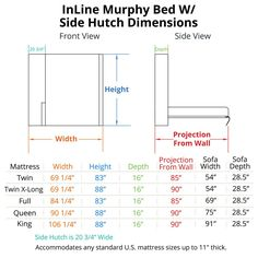 InLine Murphy Bed with Hutch Dimensions                                                                                                                                                                                 More