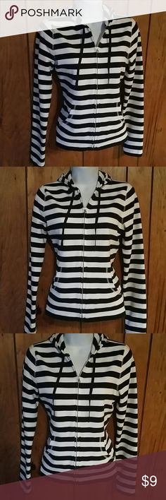 LOFT Zip Up Jacket Size medium, loft jacket. Warm comfortable material. Like new, no signs of wear. Black and white striped. LOFT Jackets & Coats