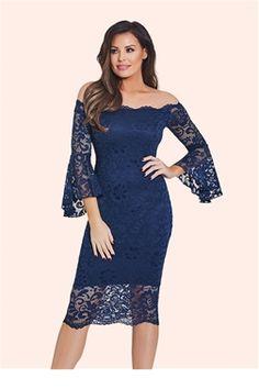 c25a6b1a617924 Jessica Wright Kelsea Navy Lace Bardot Bodycon Dress £65.00 A midi lace  navy bodycon is
