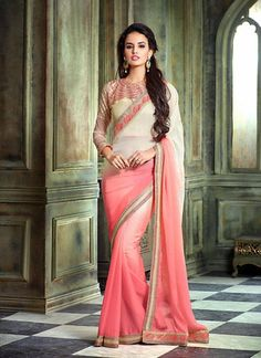 Pink With White Chiffon Sarees Online India ,Veeshack.com | Fashion for the World - 1