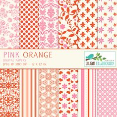 Pink and Orange digital papers for scrapbooking, card making and more.