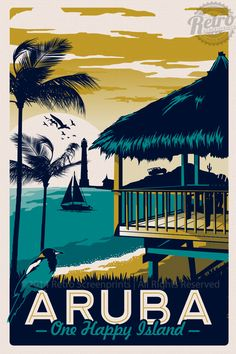 Aruba Retro Vintage Travel Poster от RetroScreenprints на Etsy