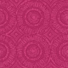 Suvi (110467) - Scion Wallpapers - A large circular pattern displaying the marks and textures of the hand-carved block print technique. Shown here in raspberry colouring - more colours are available. Please request a sample for true colour match. Paste-the-wall product.