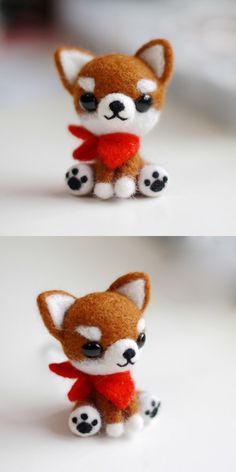 Handmade Needle felted felting project animal cute dog Chihuahua felted wool doll