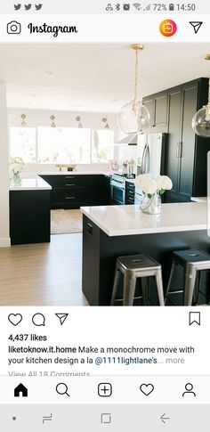Make a monochrome move with your kitchen design a la modern lighting and sleek lines Kitchen Dining, Kitchen Island, My Ideal Home, Girl House, Super Clean, Modern Lighting, Monochrome, Summertime, House Styles
