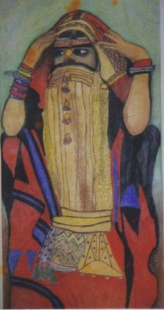 Consignment Art 4ft.x 12ft. Banner created with Color Pencils for a Mall Exhibit of African Art.