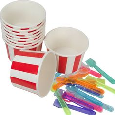 west5products 10x Traditional Retro Red & White Striped Party Ice Cream Tubs w/ Spoons