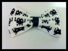White Space Invaders Bow Hair Clip by crashedhope on Etsy, $6.50