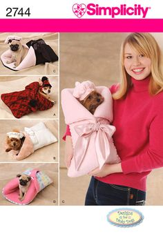 Simplicity 2744 Sewing Pattern Dog Carrier Bed Beret Bonnet for sale online Dog Wear, Dog Carrier, Cute Friends, Simplicity Sewing Patterns, Pet Clothes, Yorkie Clothes, Baby Dogs, Doggies, Small Dogs