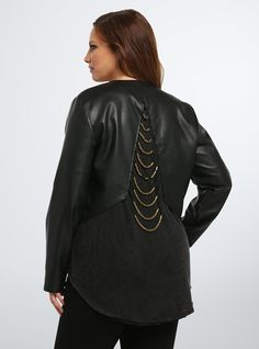 Beaded Back Faux Leather Jacket | Torrid