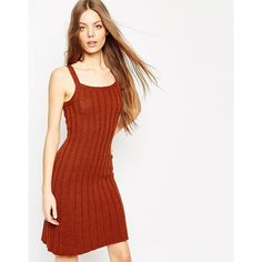 ASOS Cami Swing Dress in Rib Knit (£13) ❤ liked on Polyvore featuring dresses, brown, pink swing dress, pink camisole, asos dresses, slimming dresses and pink cami