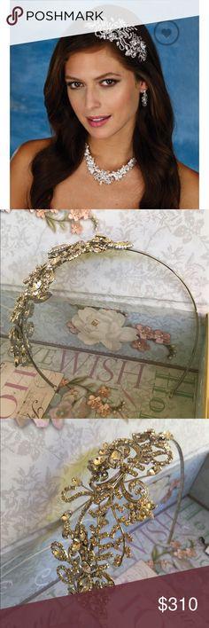 Marionat Rhodium Asymmetrical Rhinestone Headband Bridal Rhodium Asymmetrical Rhinestone Headband. Never Worn. Marionat Accessories Hair Accessories