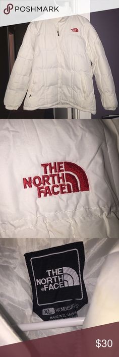 White North Face Coat Never worn white north face winter coat. Puffy and perfect for the winter!!! make an offer!! North Face Jackets & Coats Puffers