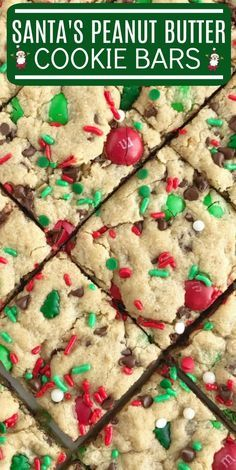 Santa's cookie bars are perfect for Christmas Eve on the cookie plate! A soft baked peanut butter cookie bar with oats, chocolate, peanut butter m&m's. 13 Desserts, Holiday Desserts, Holiday Baking, Holiday Treats, Holiday Recipes, Best Christmas Cookie Recipes, Bar Cookie Recipes, Holiday Bars, Holiday Appetizers