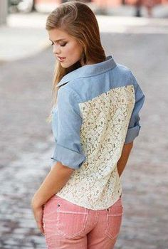 Western Influence Chambray Lace Back Shirt With Collar Tips in Light Wash | Sincerely Sweet Boutique
