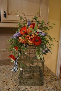 Birdcage+With+Spring+Flowers+And+Butterfly+by+kristenscreations,+$58.00