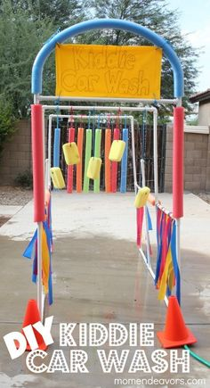 Use pool toys, sponges, and PVC pipe to make a kiddie car wash.