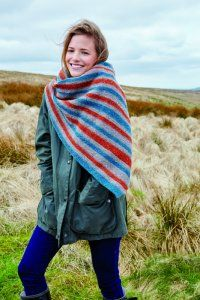Bradfield Scarf - This colourful scarf is knitted in three shades of Valley Tweed, a wool yarn produced in the home of Rowan, Yorkshire. Designed by Lisa Richardson it features stylish stripes and makes a warm accessory. Tweed, Lisa Richardson, Rowan Yarn, Scarf Design, Knitted Shawls, Shawls And Wraps, Plaid Scarf, Pattern Design, Knit Crochet