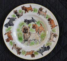 Cairn terrier. Handpainted ceramic plate.LOOK