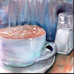 Cuppa Joe Fancy Hot Coffee Whipped Cream Watercolor 6x6 Painting Penny StewArt #Realism