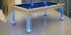 """Special"" Modern Pool Table in Ash colour 8 with Royal blue cloth and leg 20. Blue LED's"