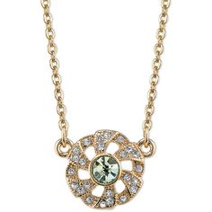 Downton Abbey Downton Abbey Goldtone & Green Crystal Flower Necklace ($8.99) ❤ liked on Polyvore featuring jewelry, necklaces, antique jewellery, crystal stone necklace, gold tone jewelry, green crystal necklace and antique necklaces