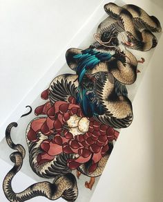 """A full view of @filthytattooart Tui snake print only available @printcult #printcult #currarwhitham #giclee #tattooart #snake"""