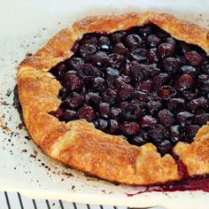 A rustic summer galette with sweet cherries and a flaky, buttery crust