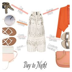 """""""Day to Night: Rompers (1)"""" by emhenry ❤ liked on Polyvore featuring Michael Kors, Eddie, W118 by Walter Baker, Alice + Olivia, Billabong, DayToNight and romper"""