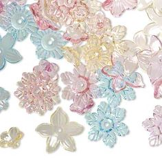 Component mix, acrylic, multicolored, 12x12mm-21x20mm center-drilled flower. Sold per 1/4 pound pkg, approximately 250 beads.