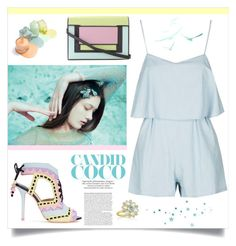 """""""You can't change me"""" by rose-levitt ❤ liked on Polyvore featuring Topshop, Pierre Hardy, Sophia Webster, MUNNU The Gem Palace, summerstyle, playsuit, romper and summersandals"""