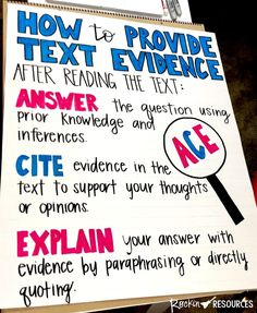 How to Teach Text Evidence - Rockin Resources Evidence Anchor Chart, Ela Anchor Charts, Reading Anchor Charts, Reading Lessons, Reading Skills, Guided Reading, Reading Resources, Reading Activities, Reading Games